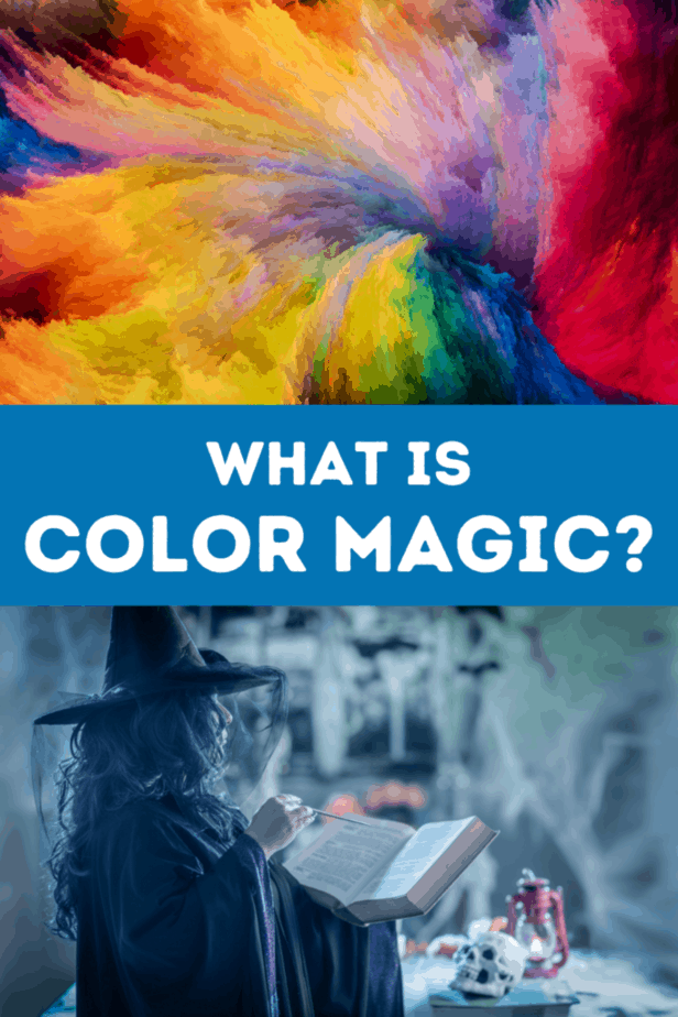 A colorful swirl of dust. A witch in a blue toned scene wearing a witch hat with netting. She's holding a book and a wand. In the background is an occult skull and lantern. What is color magic?