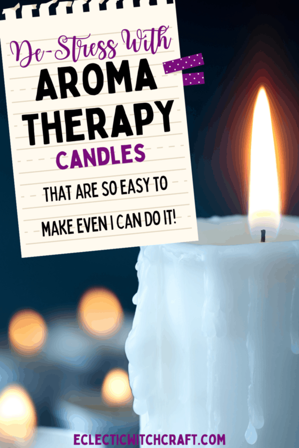 De-stress with aromatherapy candles that are so easy to make even I can do it! A white candle lit with a fire against a bokeh background.