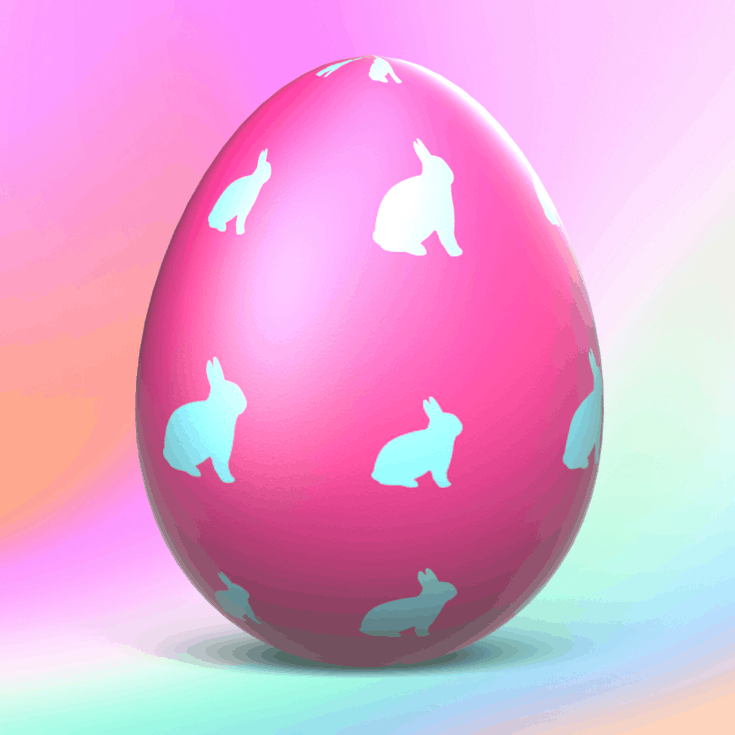 An easter egg on a rainbow background with blue bunnies on it