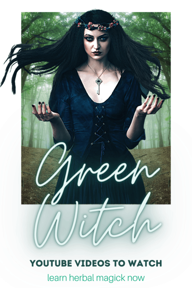 Green witch youtube videos to watch for beginner witches. Learn about herbal magick. A witchy woman with windswept hair in a foggy forest performing magic. She has a key on a necklace and a thorn and berry crown.