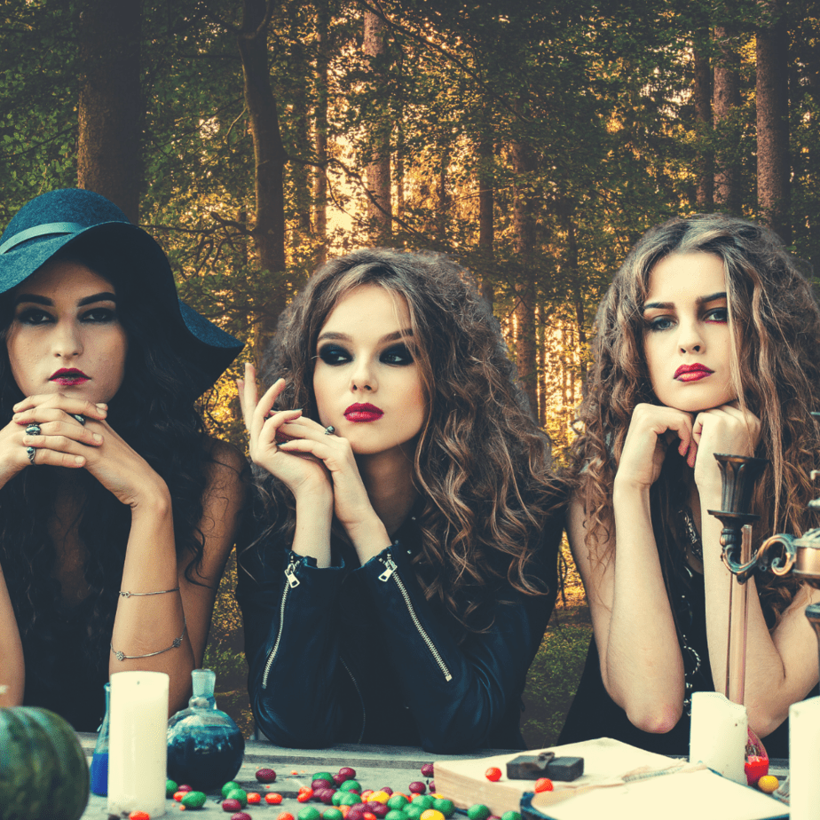 Green witches in the forest.
