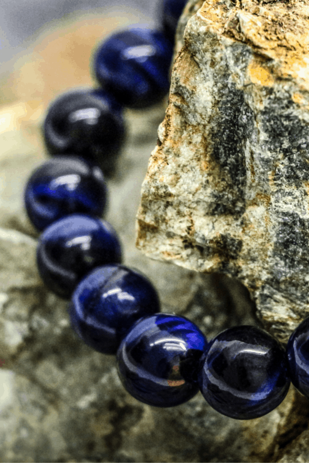 Blue tiger's eye crystal bead bracelet