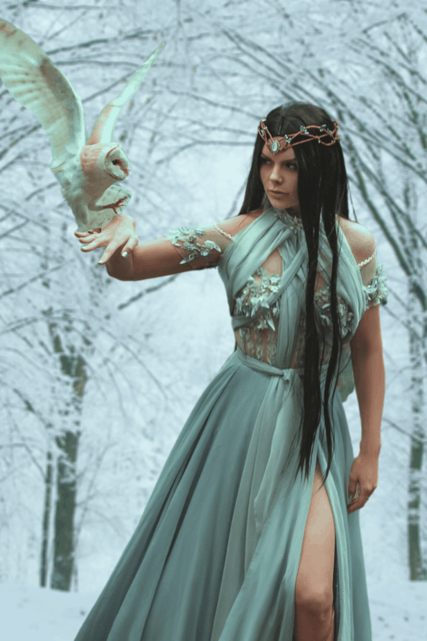 A sorceress in the forest with her trusty owl familiar wearing a sheer white dress and a diadem. Her long black hair trails down her sides.