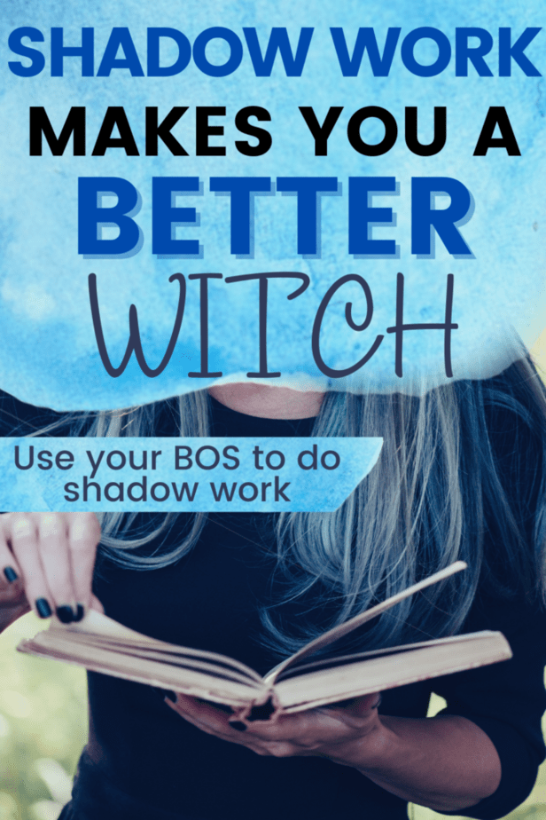 Shadow work makes you a better witch. Use your book of shadows to do shadow work. A witchy woman with blue hair and black nails holding an old book.