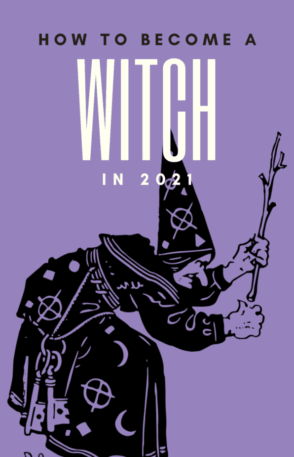 How to become a witch in 2021. A witch with symbols on her hat and wearing keys on her belt uses a branch for witchcraft on a lilac background.