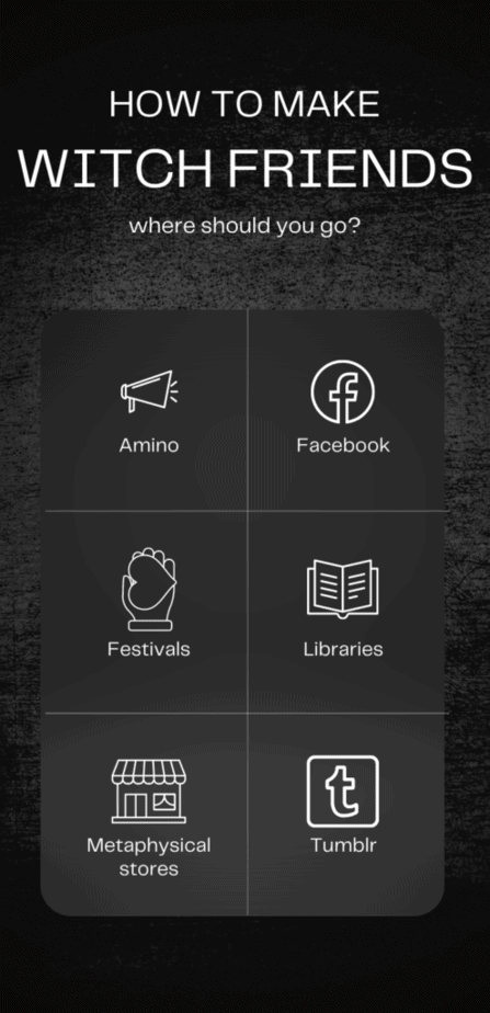 You can't learn how to become a witch without witch friends. How to make witch friends. Where should you go? Amino, Facebook, festivals, libraries, metaphysical stores, or Tumblr? Wire icons in white on a black background.