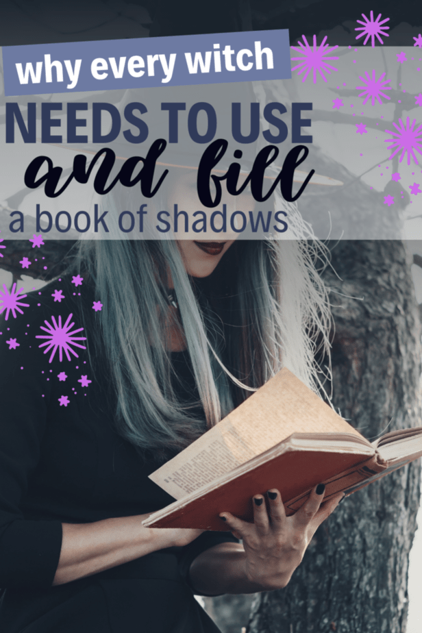 Why every witch needs to use and fill a book of shadows. A witchy woman with blue hair reading an old book.