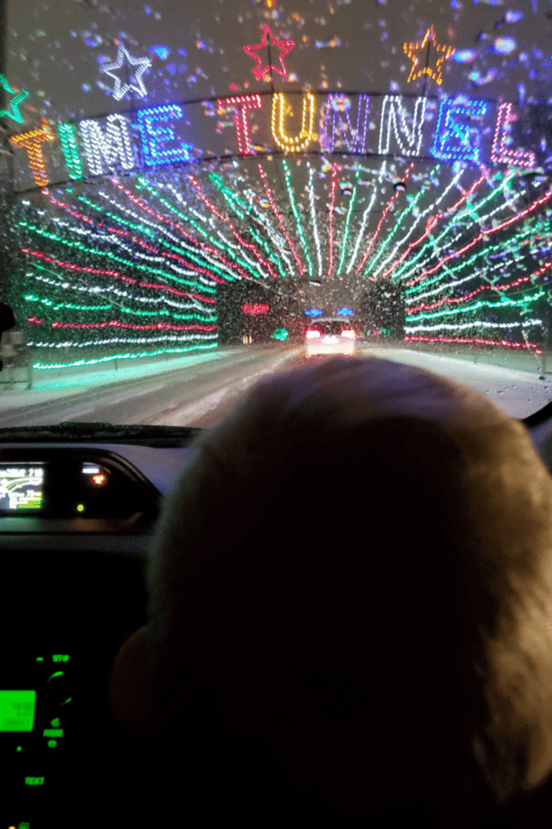 The Time Tunnel at the Lightfest at Hines Park in Westland Michigan with my son admiring the lights from the car.