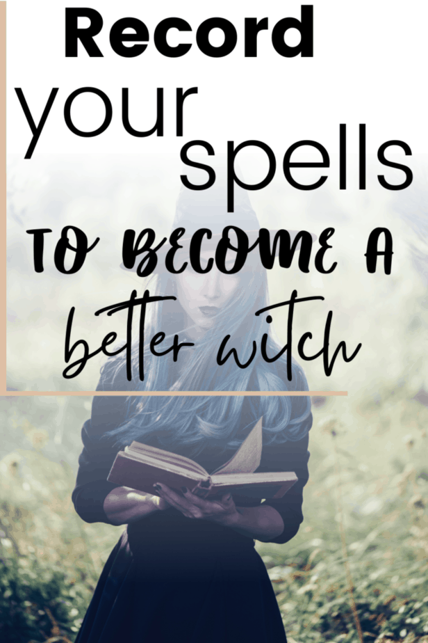 Record your spells to become a better witch. A witchy woman with black nails and blue hair holding an old book in a windy field.