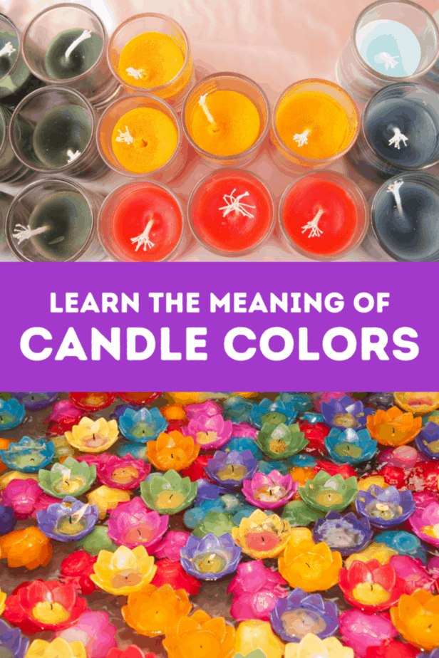 Candles in orange, green, red, black and light blue. Lotus shaped candles floating on water. Learn the meaning of candle colors.