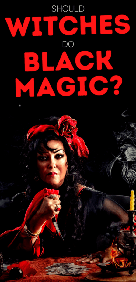 Should witches do black magic? A witch with a knife hovering over playing cards and a smoldering candle.