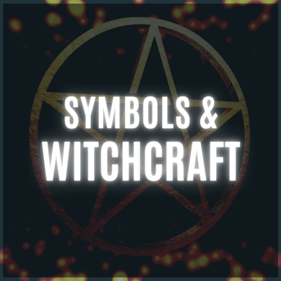Faded golden pentacle and bokeh with the words symbols & witchcraft