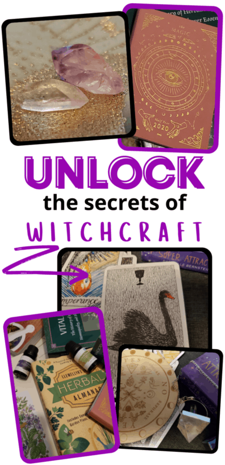 Unlock the secrets of witchcraft. Crystals on a gold and green altar cloth. A magical date book. Tarot cards. Essential oils and books on herbalism. A pendulum and pendulum board.