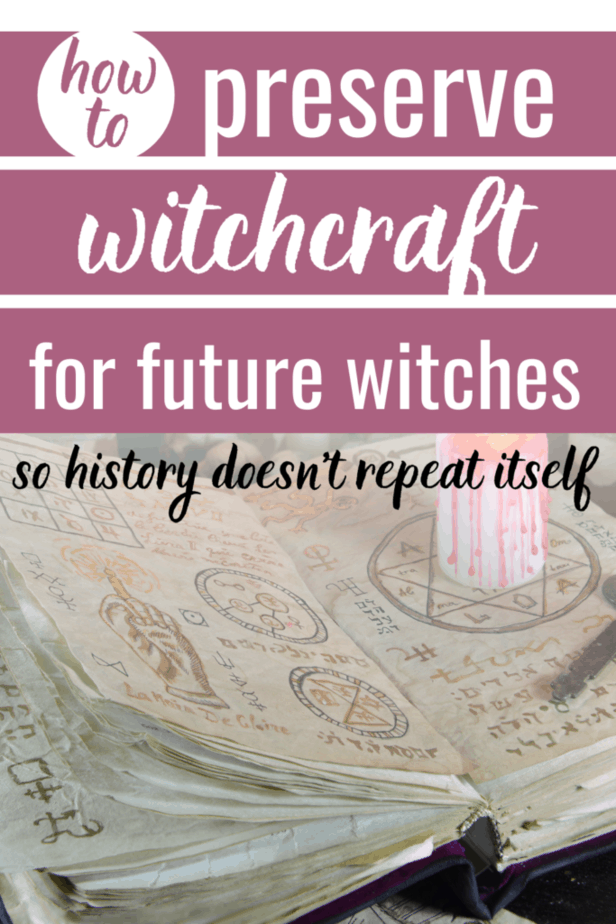 How to preserve witchcraft for future witches so history doesn't repeat itself. An old grimoire with magick symbols and a white candle bleeding red.