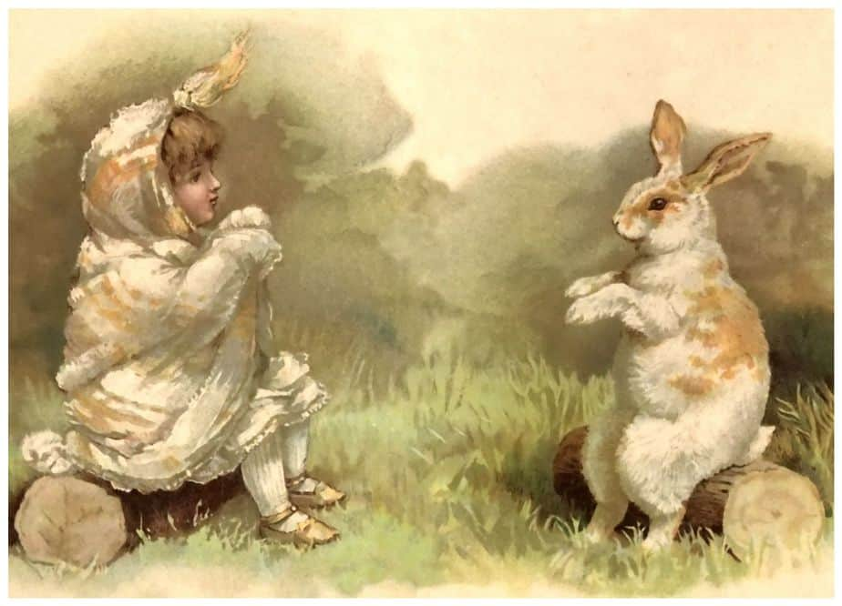 A rabbit or hare and a young child dressed like a baby chicken would make the goddess Ostara very happy