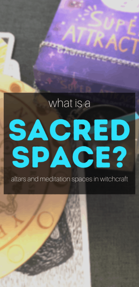 What is a sacred space? Altars and meditation space in witchcraft. A witch altar with a pendulum, pendulum board, and oracle cards.