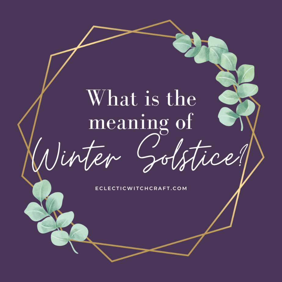 What is the meaning of winter solstice? With illustrated leaves and geometric lines in gold color on a dark purple background.