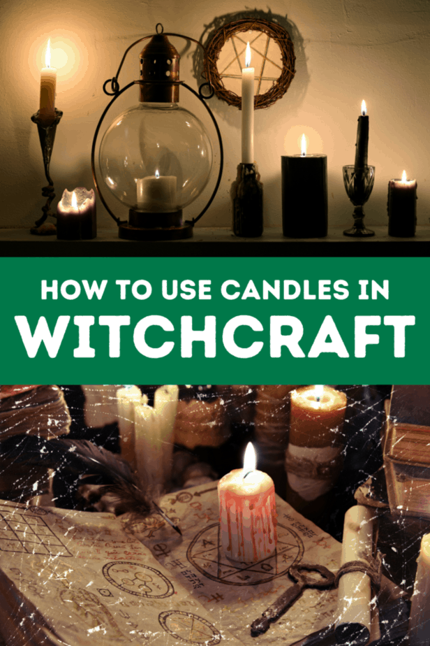 A ledge with dark witchy candles in black, yellow, and white. on the wall is a homemade pentagram decor. Rustic candles on a table. A book with occult teachings about witchcraft or alchemy. A rusty key. A parchment paper and feather. A white candle that looks like it's bleeding. How to use candles in witchcraft.