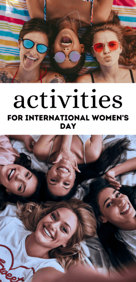 Activities for international women's day. Women having fun together at the beach and during a sleepover.