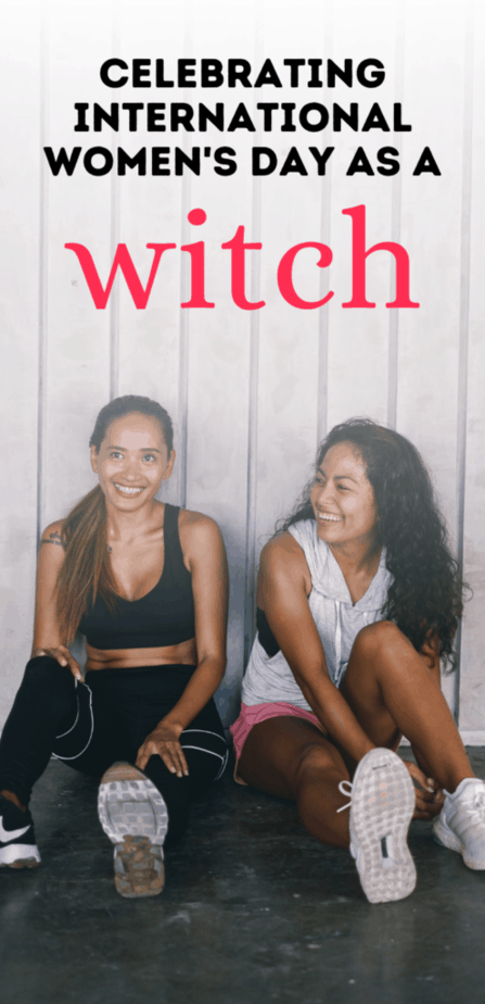 Celebrating international women's day as a witch. Two women sitting together and laughing after a workout.