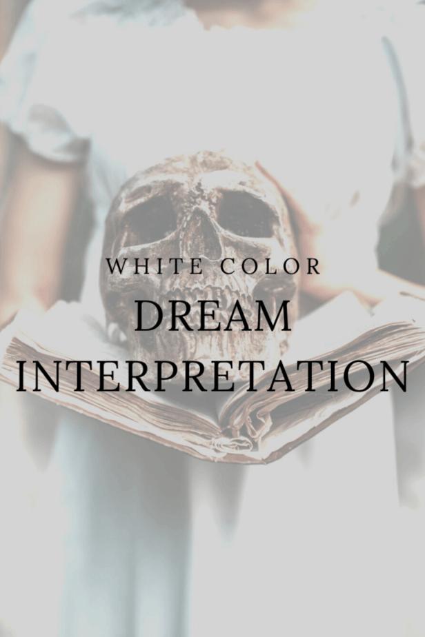 White color dream interpretation. A woman holding a skull in a book.