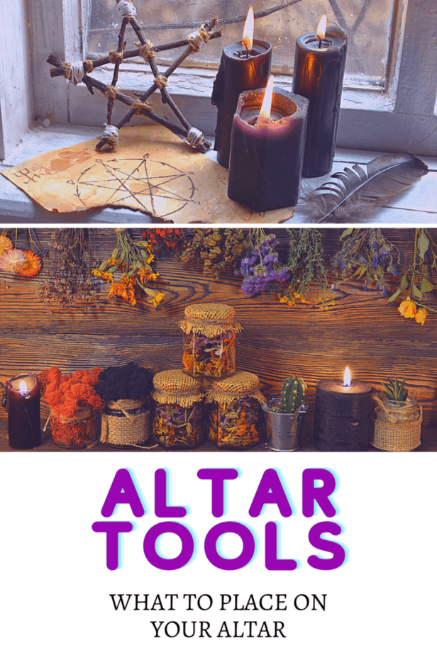A pentacle made from sticks and twine. Black candles. A feather. A window and windowsill. Parchment with old occult symbols. Dried herbs in bottles and hanging on the wall. Succulents and cactuses. Altar tools: what to place on your altar.