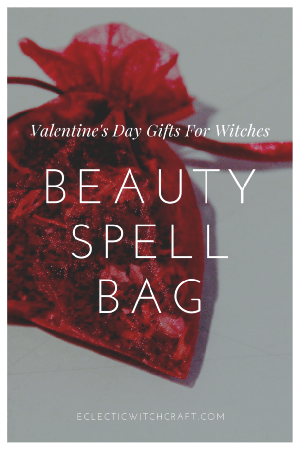 Valentine's Day Gifts For Witches. Beauty spell bag. A red sachet bag filled with herbs for beauty on a white background. Valentine's day gift ideas.