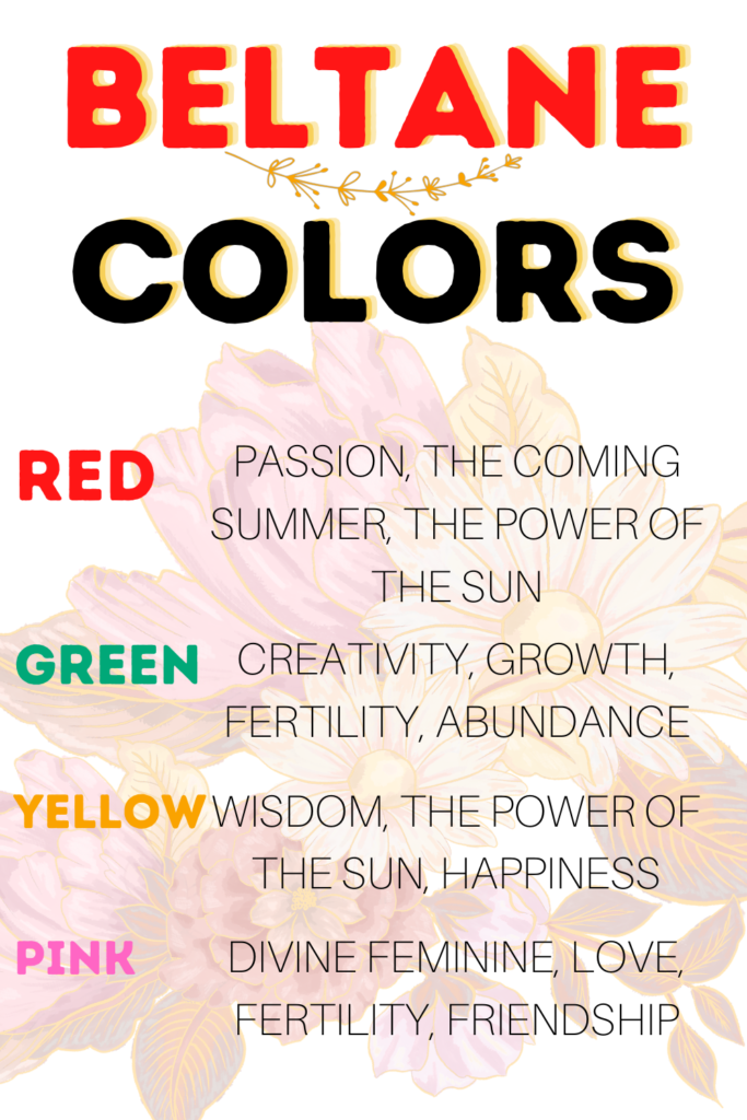 Beltane colors for witches to use in their spells. Color correspondences for red, green yellow, white, and pink.