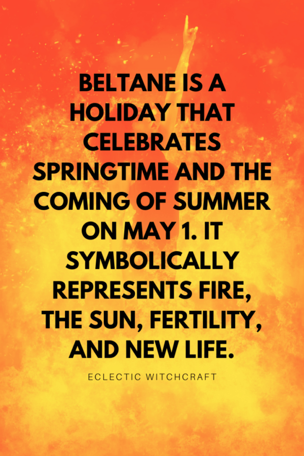 Beltane is a holiday that celebrates springtime and the coming of summer on May 1. It symbolically represents fire, the sun, fertility, and new life. Eclectic witchcraft. A woman engulfed in magical flames, showing off her witch powers.