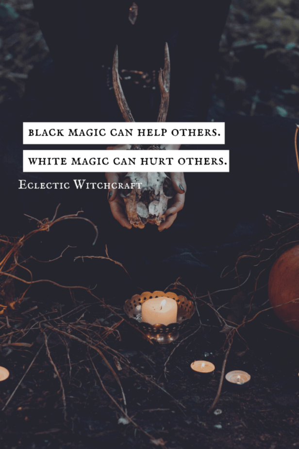 Black magic can help others. White magic can hurt others. A woman holding a skull with antlers over a white candle's flame in the forest.