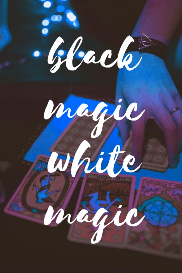 Black magic vs white magic. A woman pulling tarot cards.