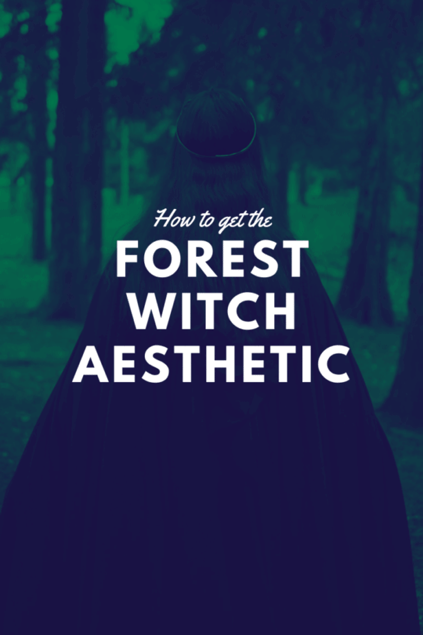 How to get the forest witch aesthetic. A woman in blue and green in the forest wearing a robe.