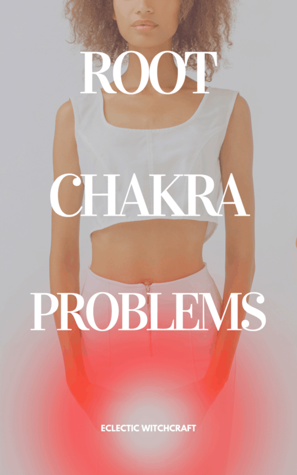 Root chakra problems. A woman demonstrating where the root chakra is on your body.
