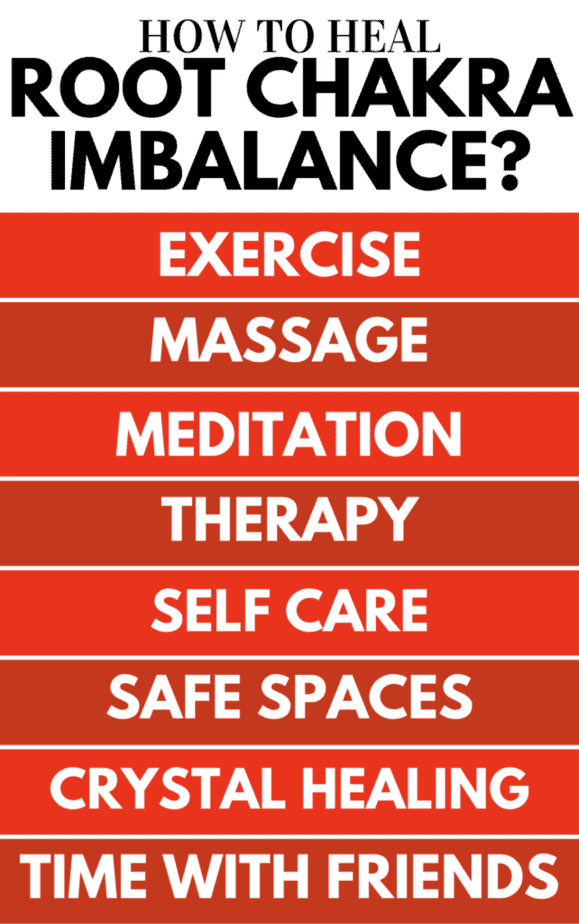 An infographic of how to heal root chakra imbalance.
