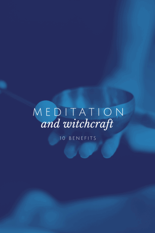 Meditation and witchcraft: 10 benefits. A woman holding a Himalayan singing bowl as she meditates.