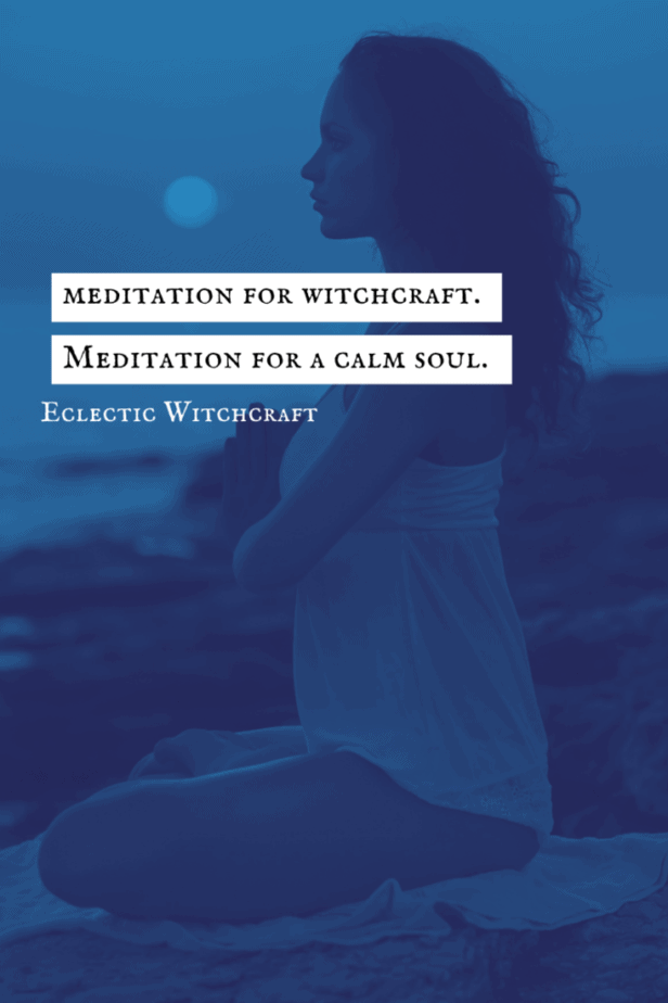 Meditation for witchcraft. Meditation for a calm soul. Eclectic Witchcraft. A woman meditating on a beach.