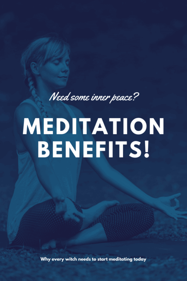 A woman meditating in blue. Needs some inner peace? Meditation benefits! Why every witch needs to start meditating today.