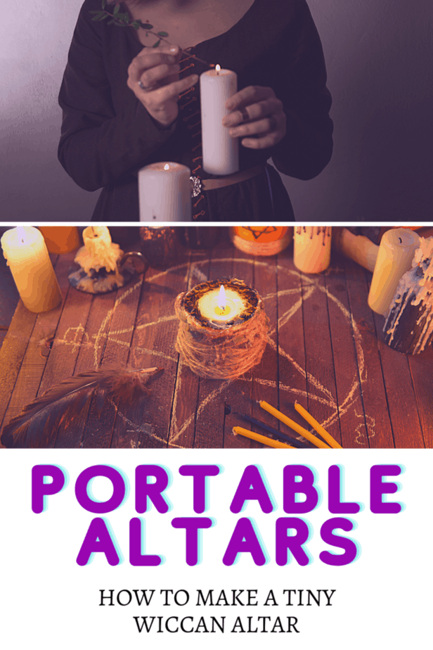 A witchy woman lighting white candles with an herb in a black robe. A pentacle drawn with chalk on wood. A candle wrapped in jute twine. A feather. Small candles. Large candles. Portable altars: How to make a tiny Wiccan altar.