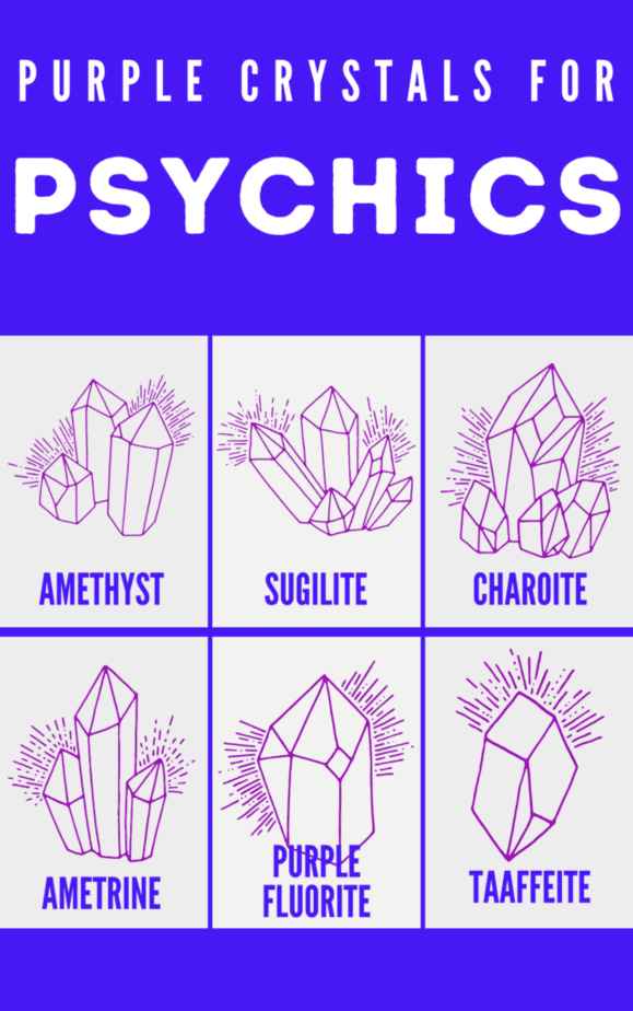 Purple crystals for psychics and witches.