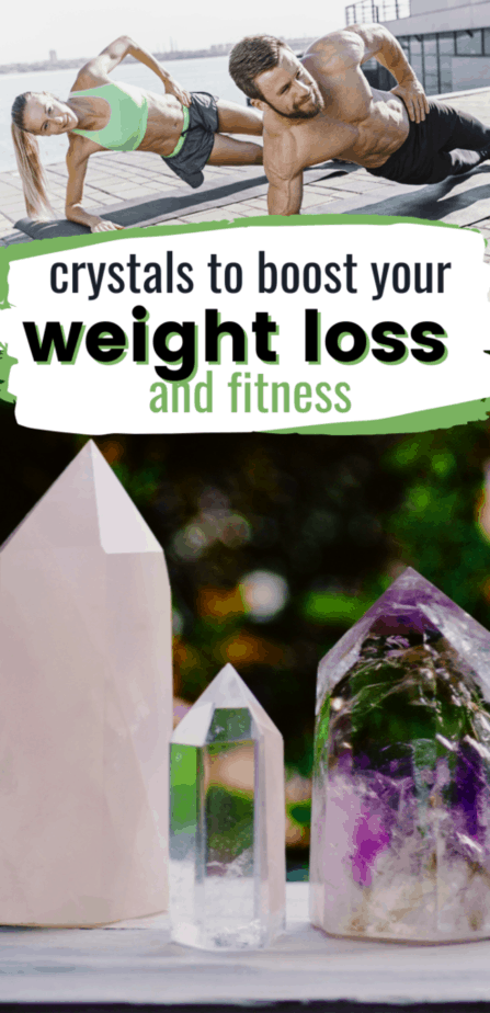Crystals to boost your weight loss and fitness. Crystals for weight loss. Rose quartz, clear quartz, amethyst. People working out.