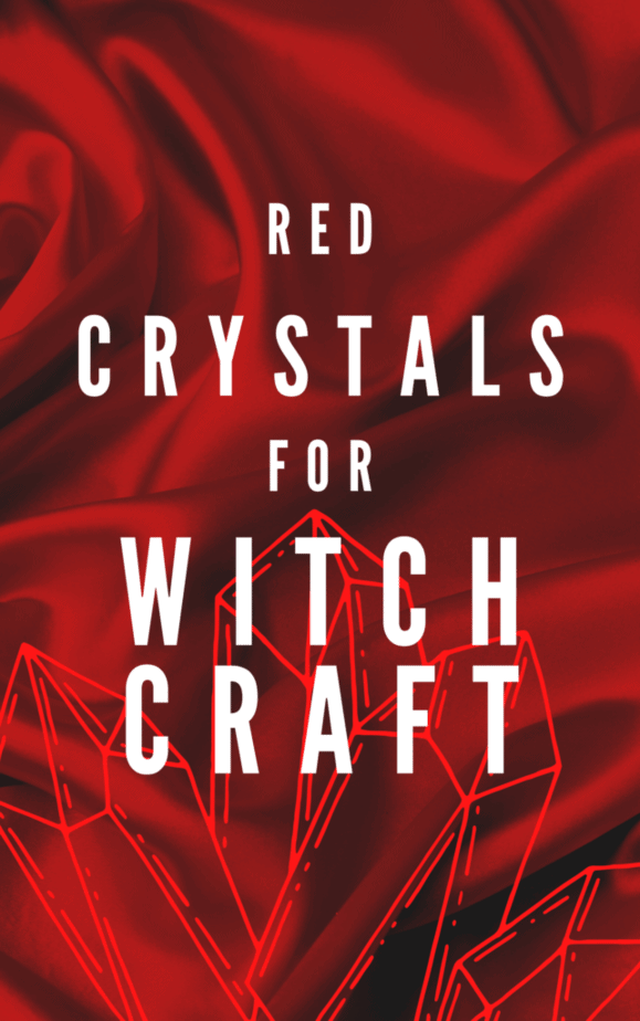 Red crystals for witch craft. Red velvet background.