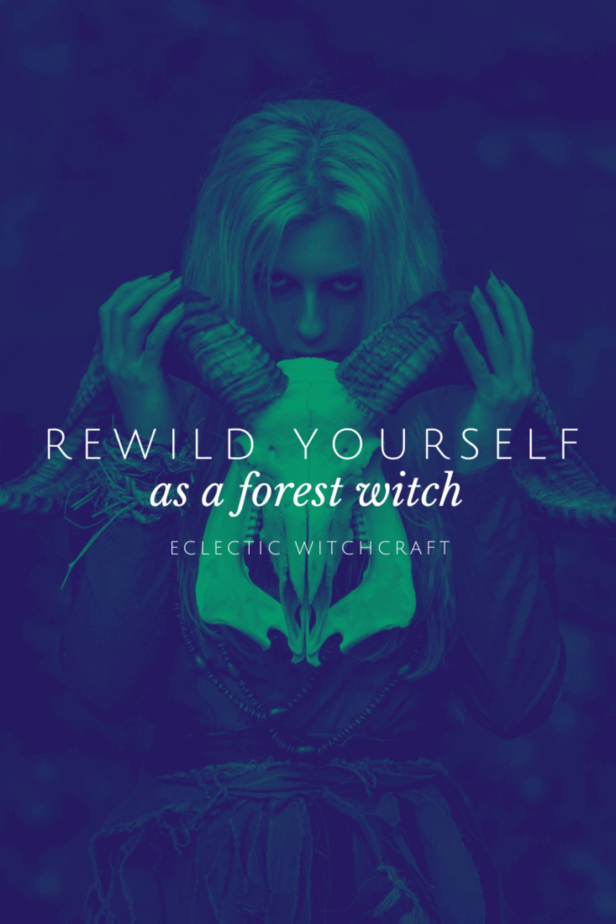 Rewild yourself as a forest witch. A woman holding a skull with antlers in the forest.