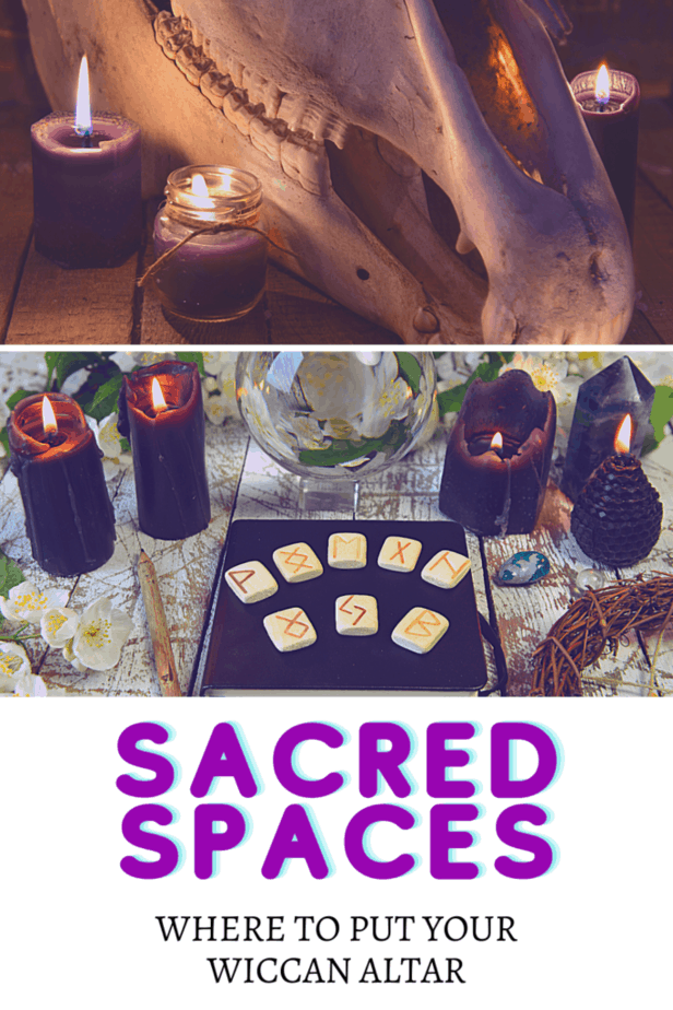 An animal skull that has been cleaned and bleached. Purple candles. Black candles. A crystal ball. Rune stones. A natural pencil. A pentacle wreath. Crystals and flowers. A black book of shadows journal. Sacred spaces: Where to put your Wiccan altar.