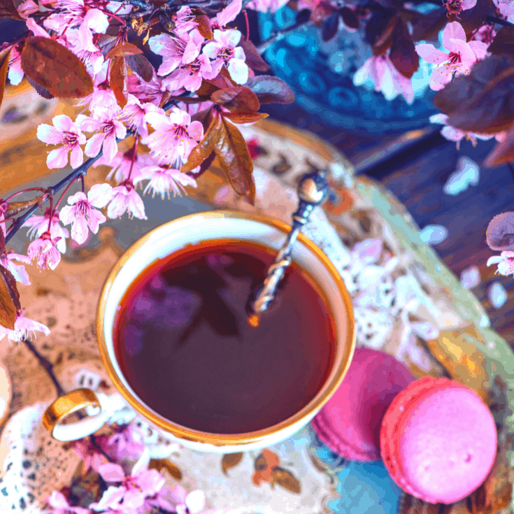 Self Love Hibiscus Tea with flowers and cookies on an ornate plate