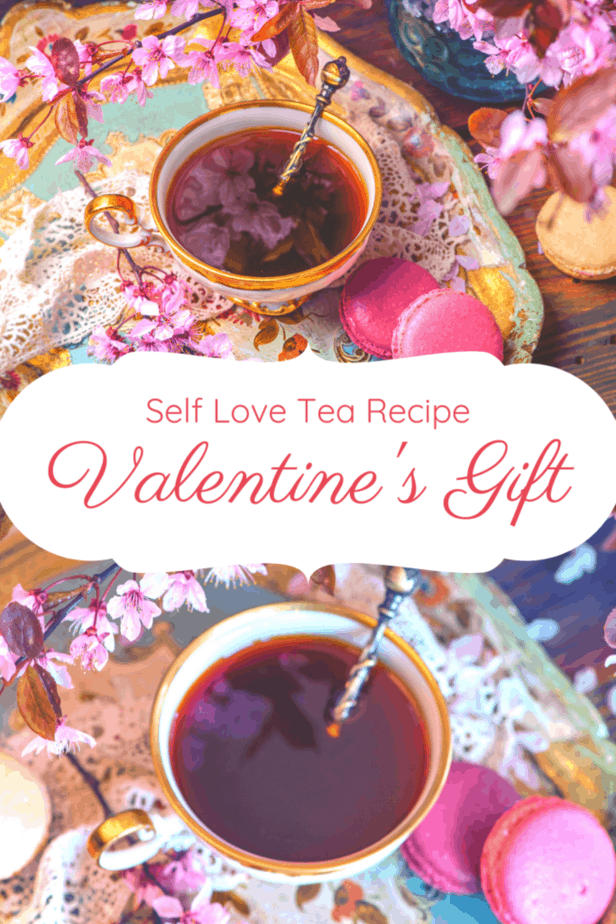 Self love tea recipe. A perfect Valentine's gift. Hibiscus tea on ornate plates in ornate cups with ornate spoons surrounded by flowers and cookies.