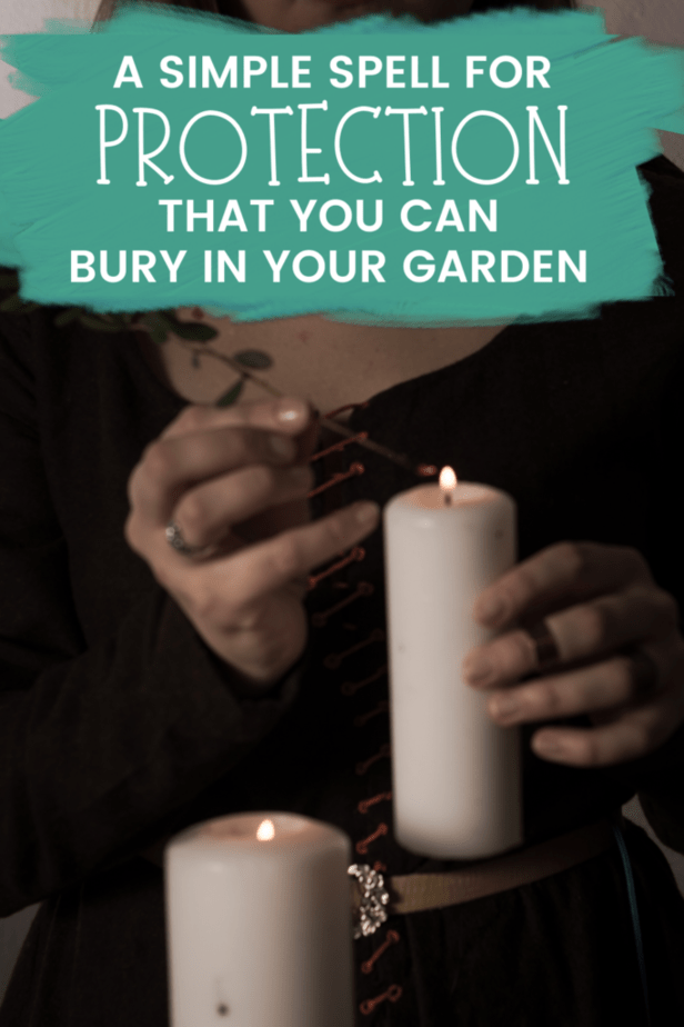 A simple spell for protection that you can bury in your garden. A witchy woman lighting a white candle with an herb wearing a black dress.
