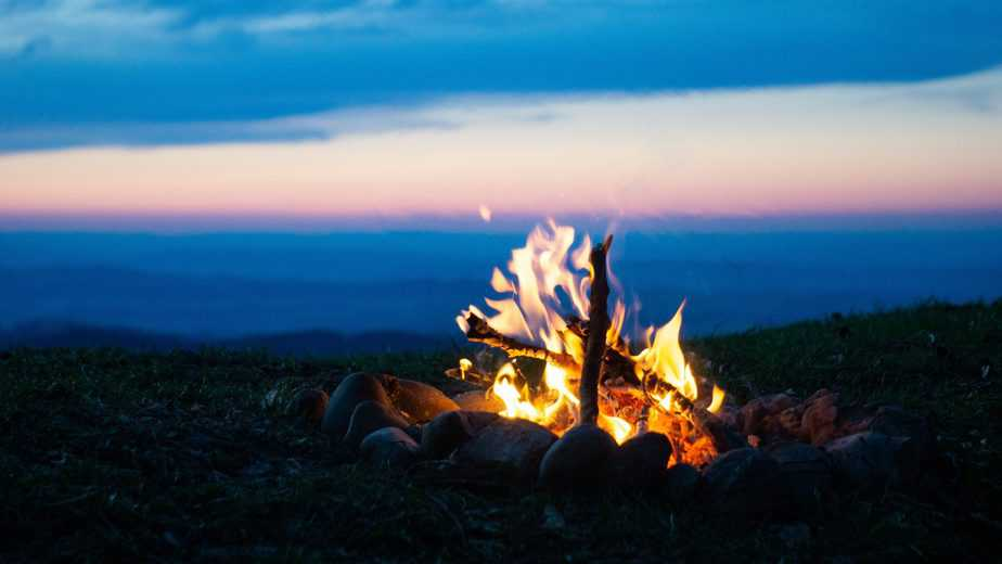 Fireplace in the evening. In the swiss mountains