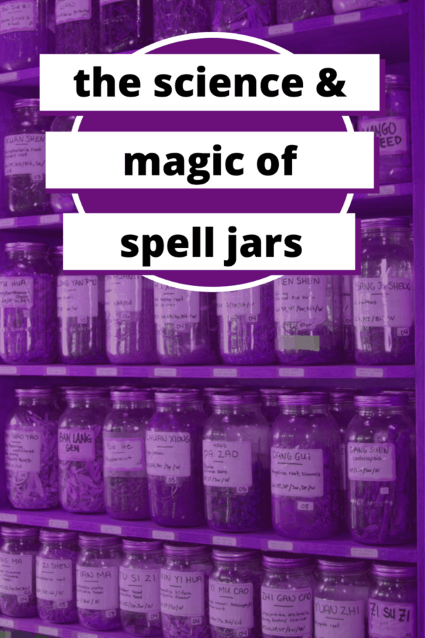 The science and magic of spell jars. Jars lining a wall in a purple haze.