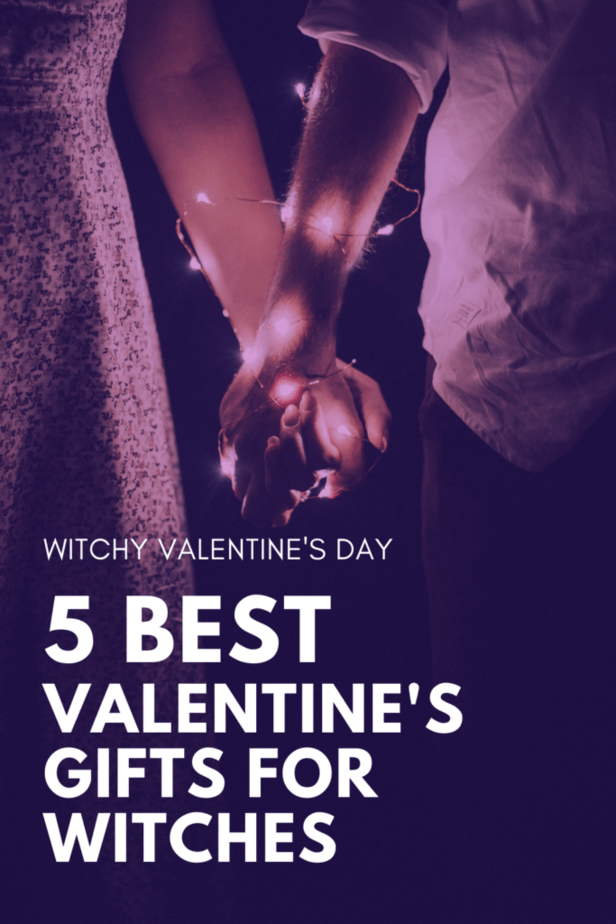 Witchy Valentine's Day: 5 best Valentine's Day gifts for witches. A couple holding hands. Their hands are bound by fairy lights.