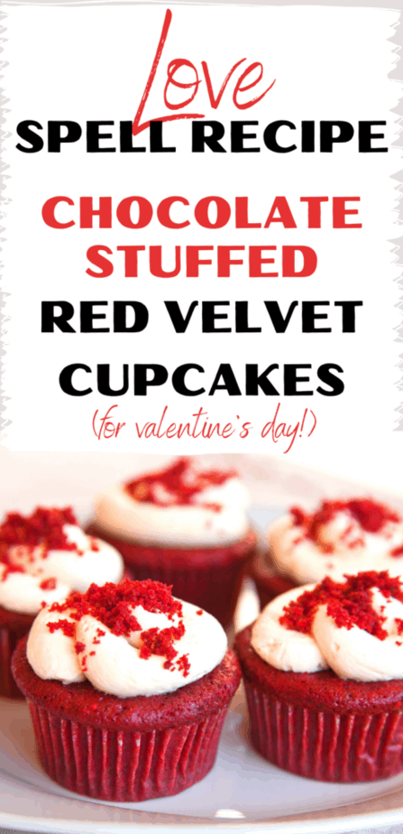 Love spell recipe: Chocolate stuffed red velvet cupcakes (for Valentine's Day!). Red velvet cupcakes with cream cheese frosting and red crumbles on top.